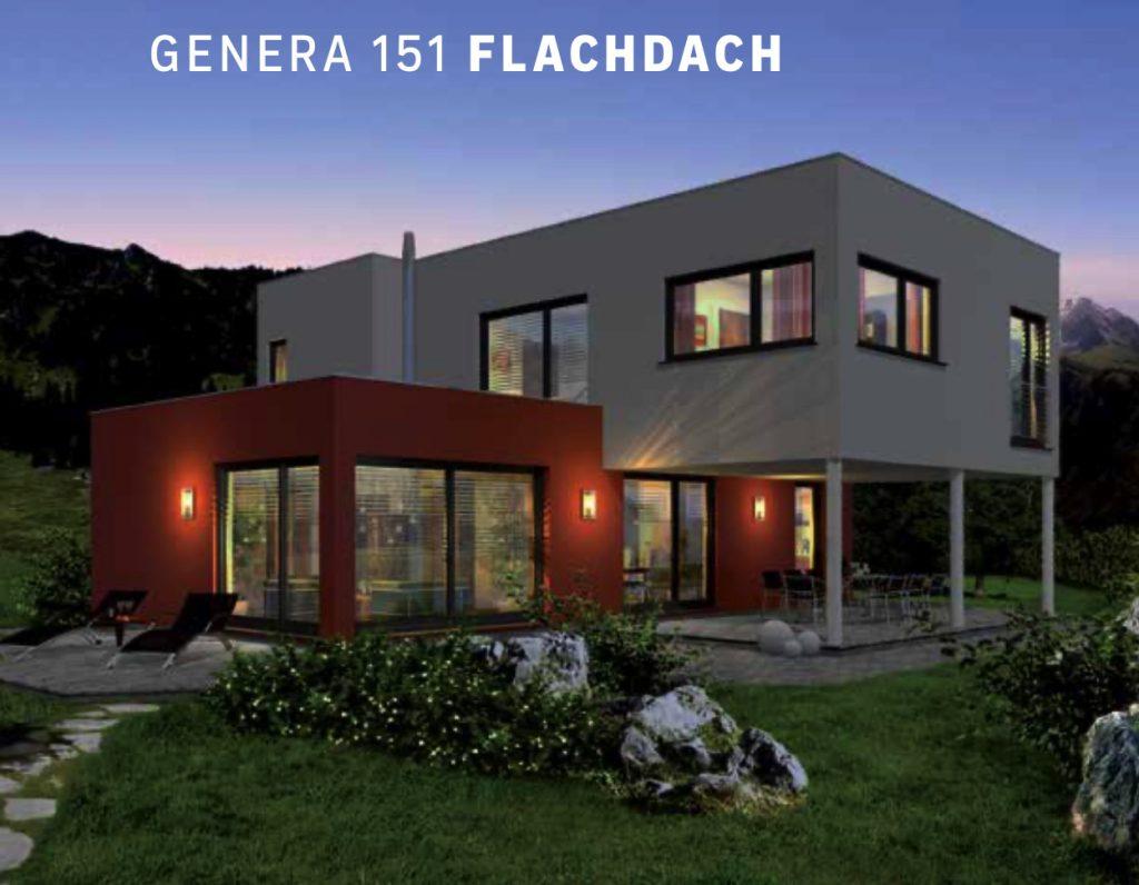 Dieses Bild zeigt das Haas-Familienhaus Genera 151 mit Flachdach.