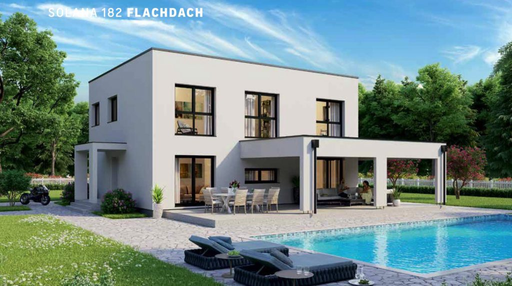 Solana 182 mit Flachdach: überdachte Terrasse und Eingangsüberdachung als Sonderbauteil.