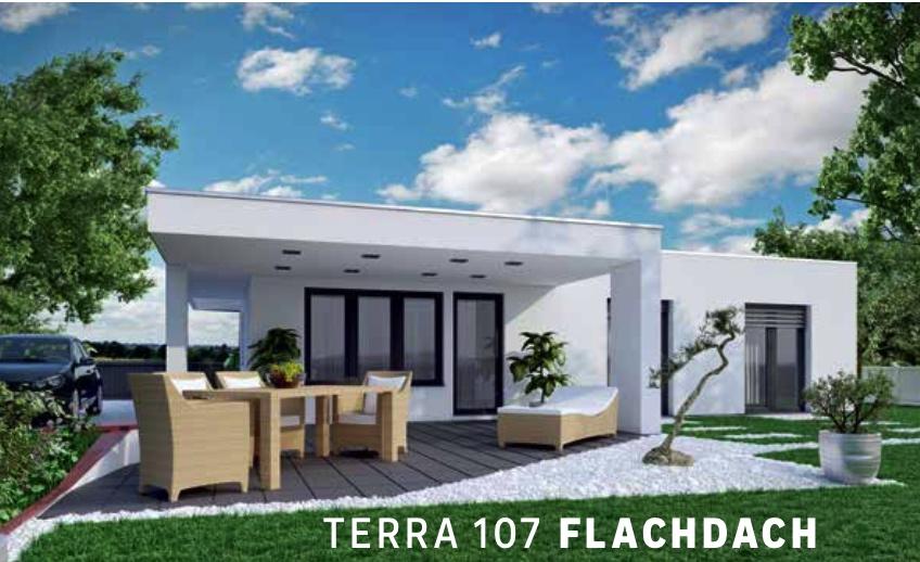 Modernes Wohnen auf einer Ebene: Terra 107 mit Flachdach und großzügiger überdachter Terrasse.