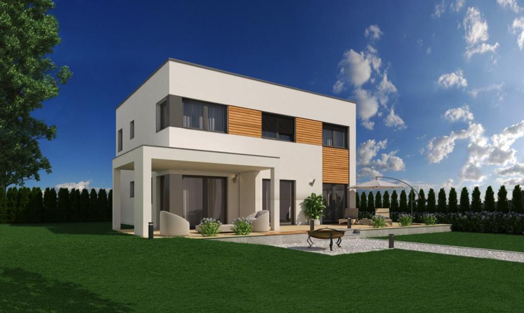 Solona 150 mit Flachdach und Terrassenüberdachung
